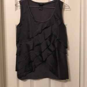 Ann Taylor Gray Ruffle Tiered Tank Top S